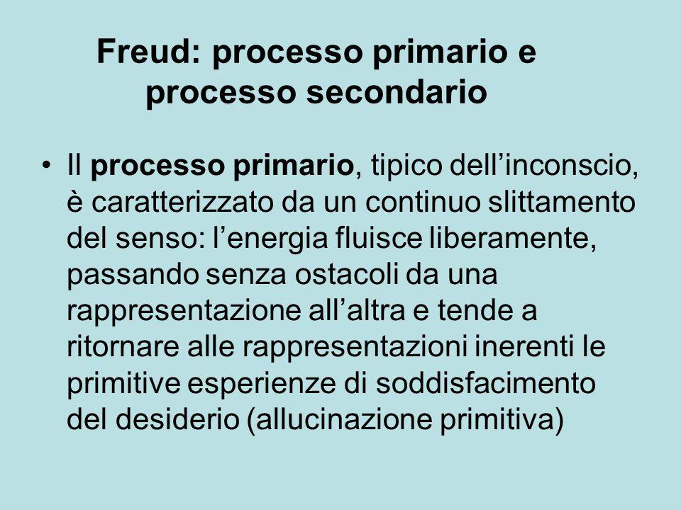 Il processo primario, tipico dell'inconscio, è caratterizzato da un continuo slittamento del senso: l'energia fluisce liberamente, passando senza ostacoli da una rappresentazione all'altra e tende a ritornare alle rappresentazioni inerenti le primitive esperienze di soddisfacimento del desiderio (allucinazione primitiva) Freud: processo primario e processo secondario