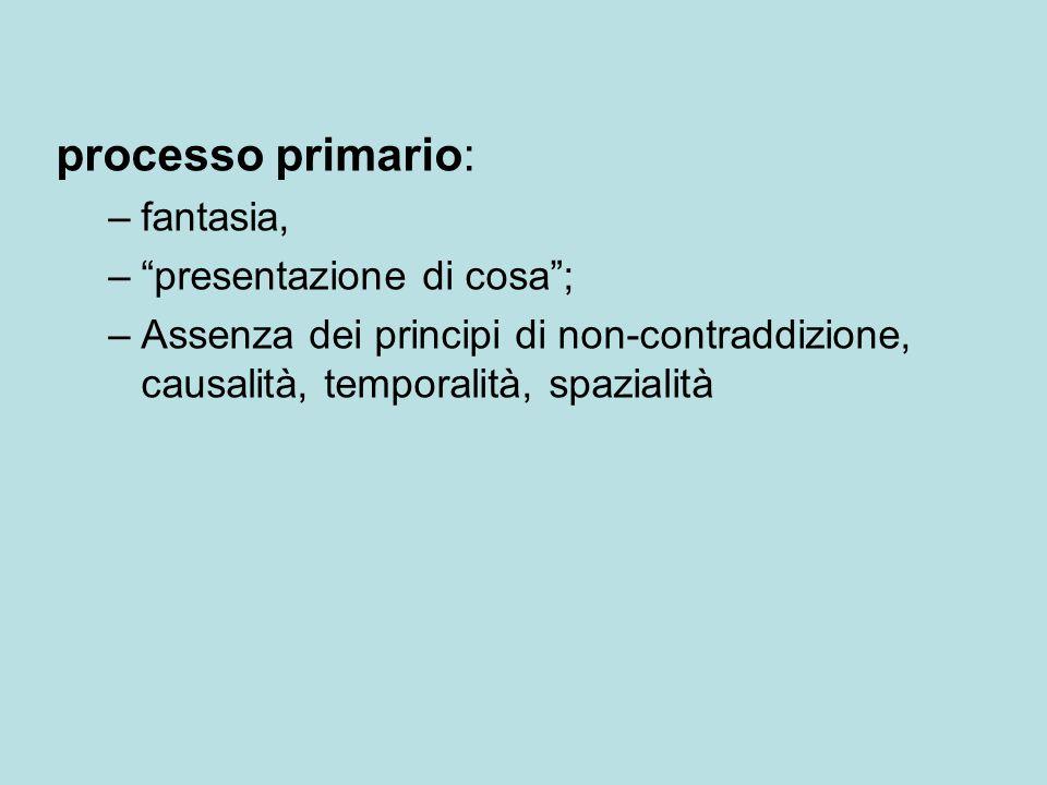 """processo primario: –fantasia, –""""presentazione di cosa""""; –Assenza dei principi di non-contraddizione, causalità, temporalità, spazialità"""