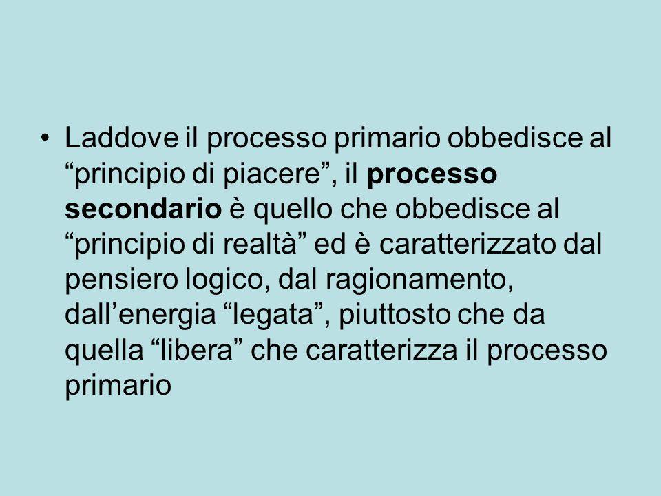 """Laddove il processo primario obbedisce al """"principio di piacere"""", il processo secondario è quello che obbedisce al """"principio di realtà"""" ed è caratter"""