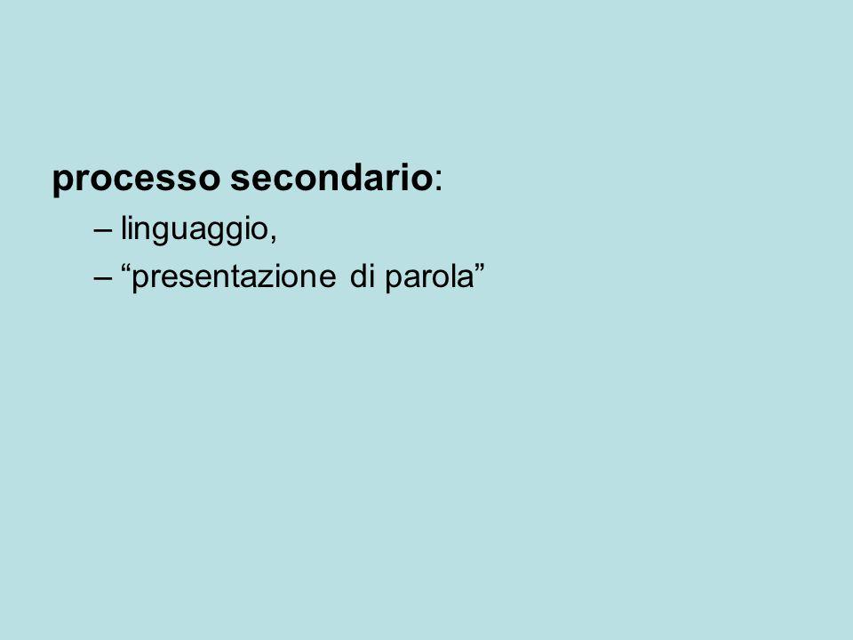 processo secondario: –linguaggio, – presentazione di parola