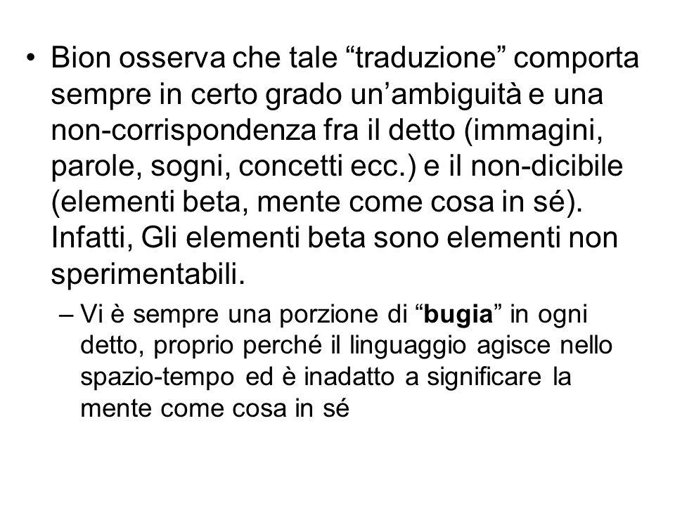 """Bion osserva che tale """"traduzione"""" comporta sempre in certo grado un'ambiguità e una non-corrispondenza fra il detto (immagini, parole, sogni, concett"""