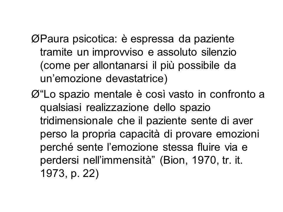 ØPaura psicotica: è espressa da paziente tramite un improvviso e assoluto silenzio (come per allontanarsi il più possibile da un'emozione devastatrice) Ø Lo spazio mentale è così vasto in confronto a qualsiasi realizzazione dello spazio tridimensionale che il paziente sente di aver perso la propria capacità di provare emozioni perché sente l'emozione stessa fluire via e perdersi nell'immensità (Bion, 1970, tr.