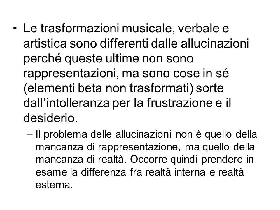 Le trasformazioni musicale, verbale e artistica sono differenti dalle allucinazioni perché queste ultime non sono rappresentazioni, ma sono cose in sé