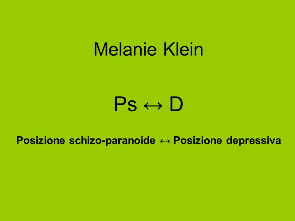 Melanie Klein Ps ↔ D Posizione schizo-paranoide ↔ Posizione depressiva