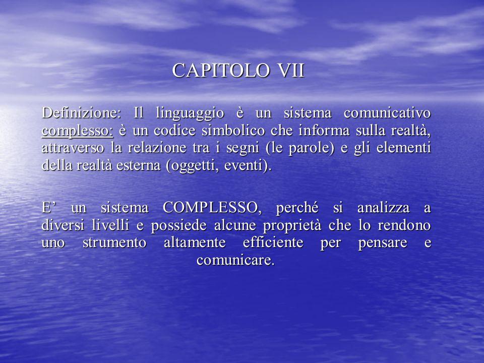 CAPITOLO VII Definizione: Il linguaggio è un sistema comunicativo complesso: è un codice simbolico che informa sulla realtà, attraverso la relazione t