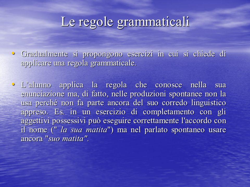 Le regole grammaticali Gradualmente si propongono esercizi in cui si chiede di applicare una regola grammaticale. Gradualmente si propongono esercizi