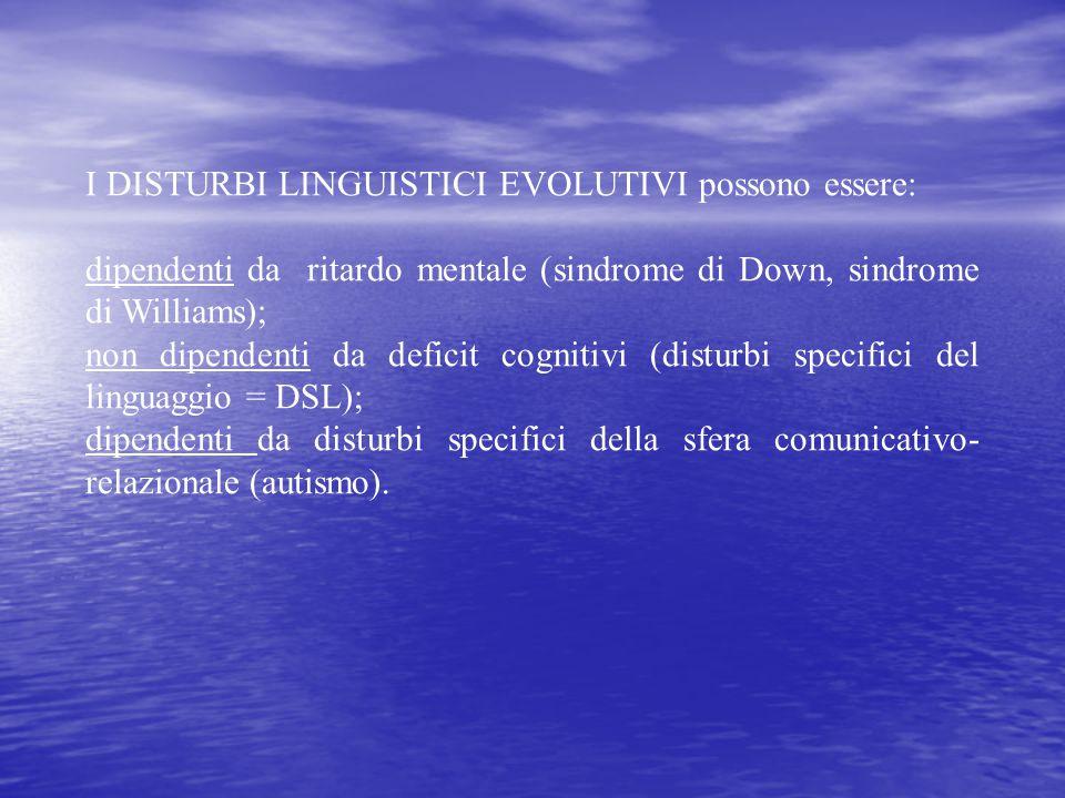 I DISTURBI LINGUISTICI EVOLUTIVI possono essere: dipendenti da ritardo mentale (sindrome di Down, sindrome di Williams); non dipendenti da deficit cog