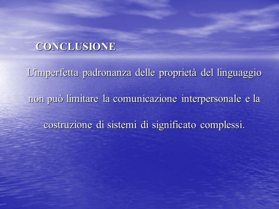 CONCLUSIONE L'imperfetta padronanza delle proprietà del linguaggio non può limitare la comunicazione interpersonale e la costruzione di sistemi di sig