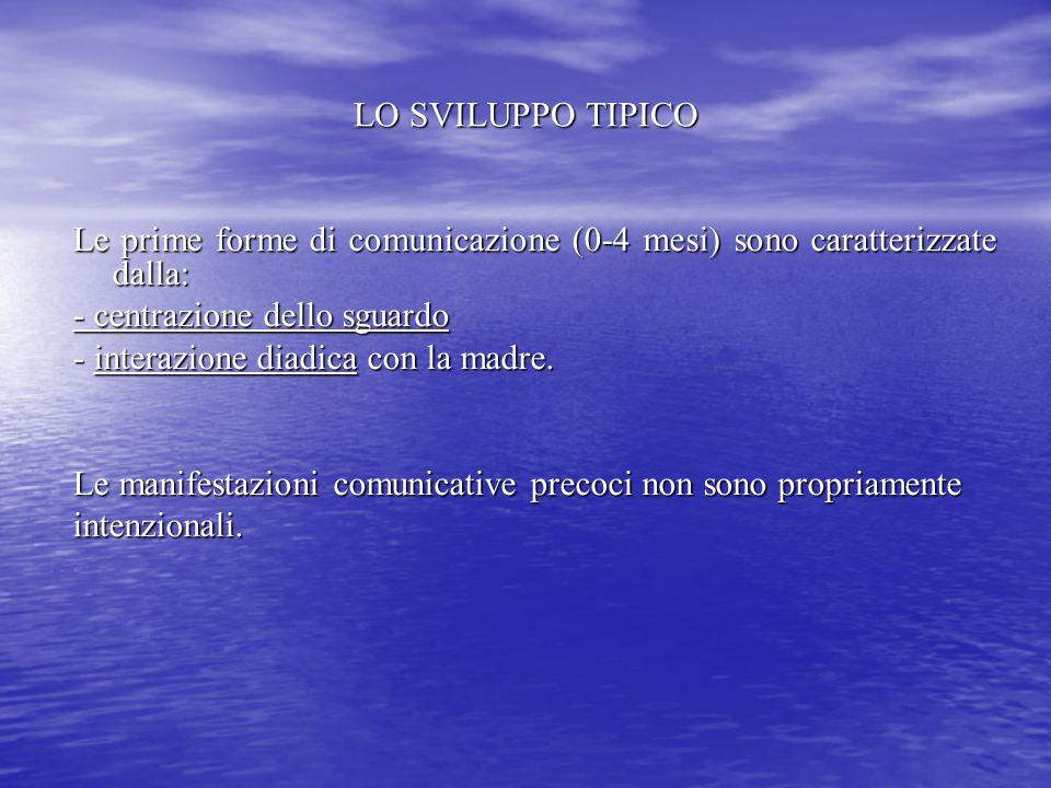 LO SVILUPPO TIPICO Le prime forme di comunicazione (0-4 mesi) sono caratterizzate dalla: - centrazione dello sguardo - interazione diadica con la madr