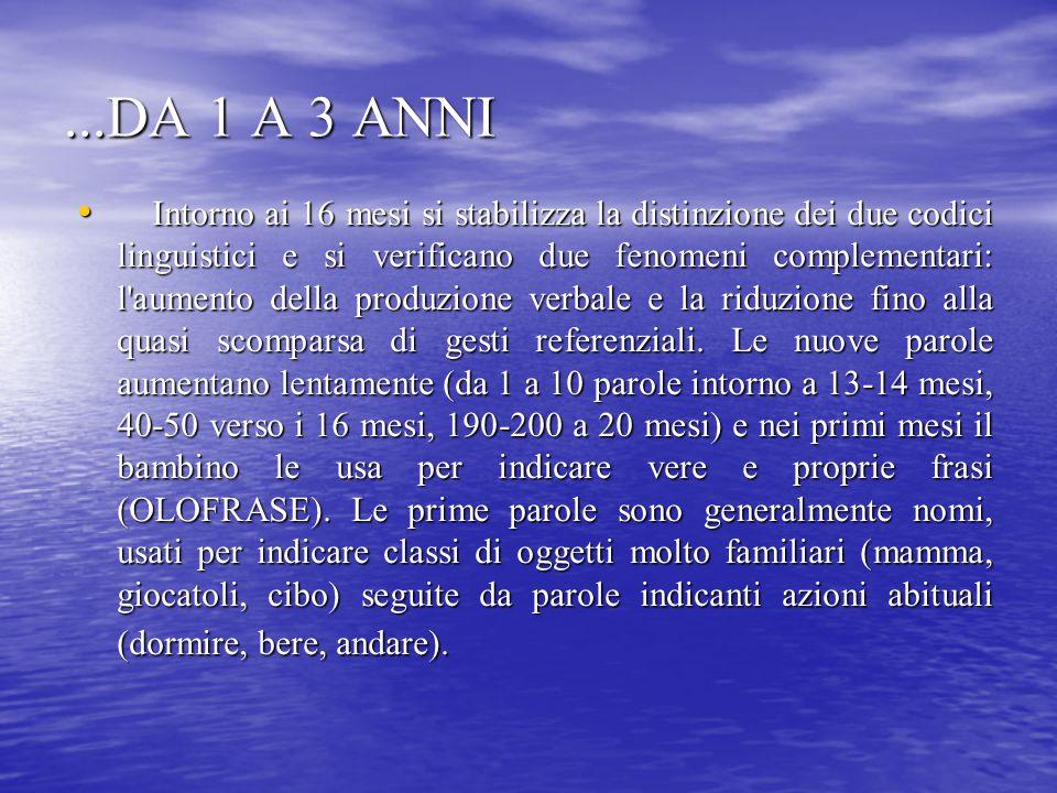 ...DA 1 A 3 ANNI Intorno ai 16 mesi si stabilizza la distinzione dei due codici linguistici e si verificano due fenomeni complementari: l'aumento dell