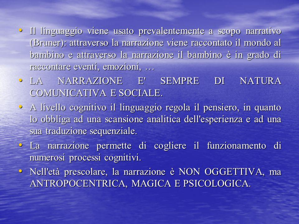 Il linguaggio viene usato prevalentemente a scopo narrativo (Bruner): attraverso la narrazione viene raccontato il mondo al bambino e attraverso la na