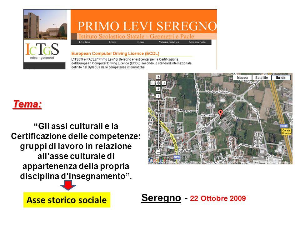 """Seregno - 22 Ottobre 2009 """"Gli assi culturali e la Certificazione delle competenze: gruppi di lavoro in relazione all'asse culturale di appartenenza d"""