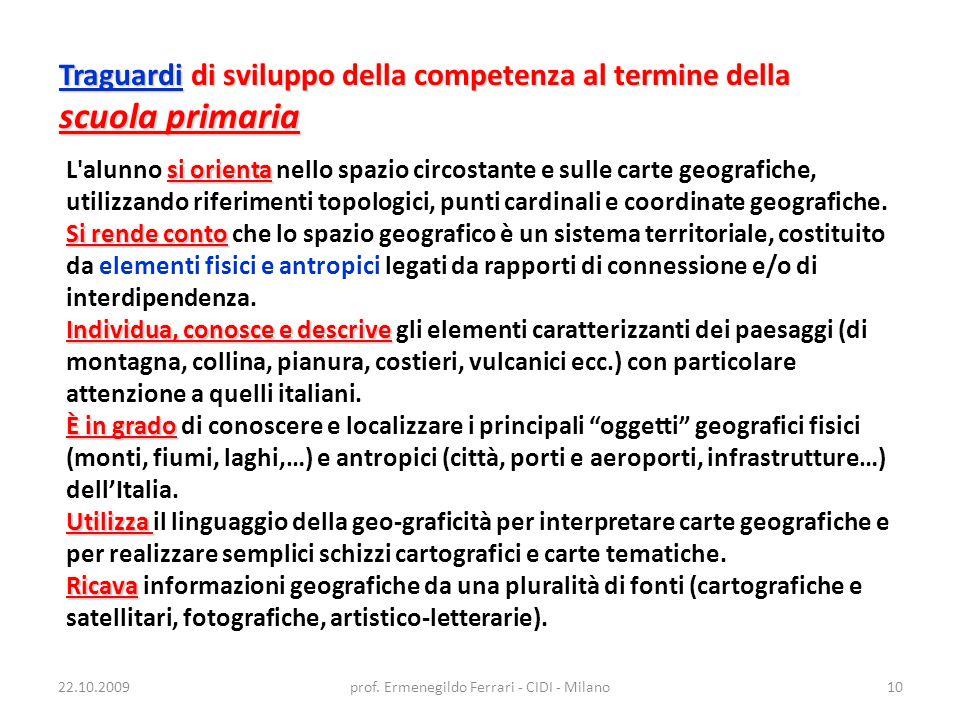 22.10.2009prof. Ermenegildo Ferrari - CIDI - Milano10 Traguardi di sviluppo della competenza al termine della scuola primaria si orienta L'alunno si o