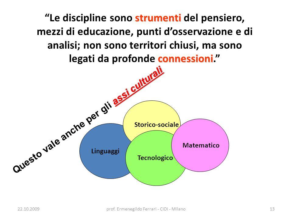 """22.10.2009prof. Ermenegildo Ferrari - CIDI - Milano13 strumenti connessioni """"Le discipline sono strumenti del pensiero, mezzi di educazione, punti d'o"""