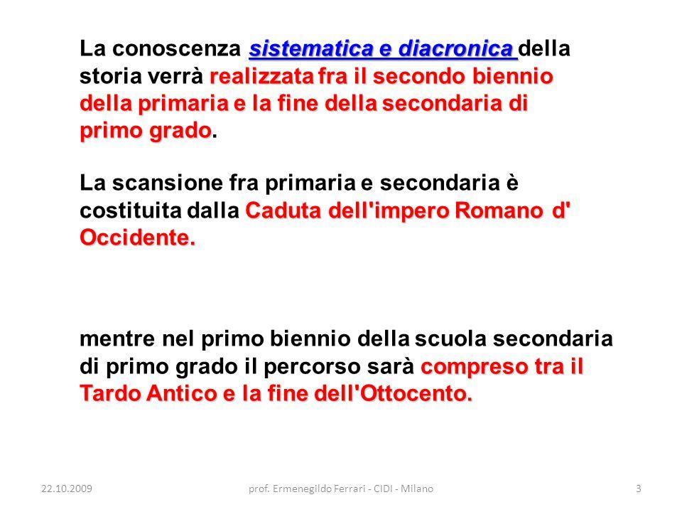 22.10.2009prof. Ermenegildo Ferrari - CIDI - Milano3 sistematica e diacronica realizzata fra il secondo biennio della primaria e la fine della seconda