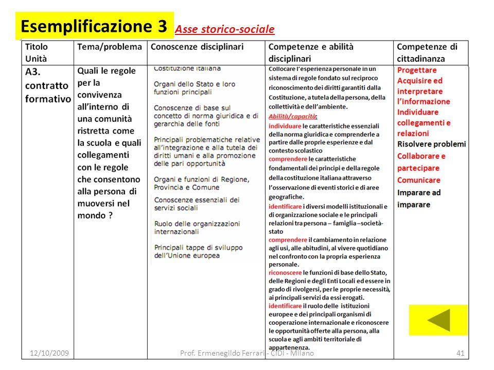 Esemplificazione 3 Asse storico-sociale 12/10/200941Prof. Ermenegildo Ferrari - CIDI - Milano