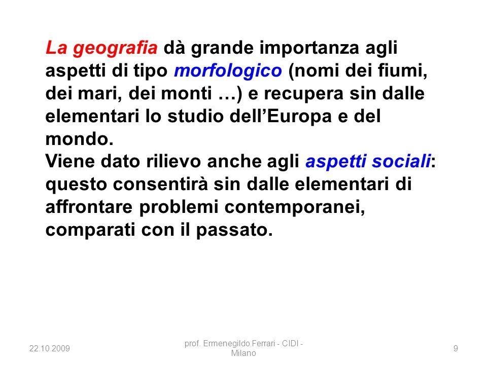 22.10.2009 prof. Ermenegildo Ferrari - CIDI - Milano 9 La geografia dà grande importanza agli aspetti di tipo morfologico (nomi dei fiumi, dei mari, d
