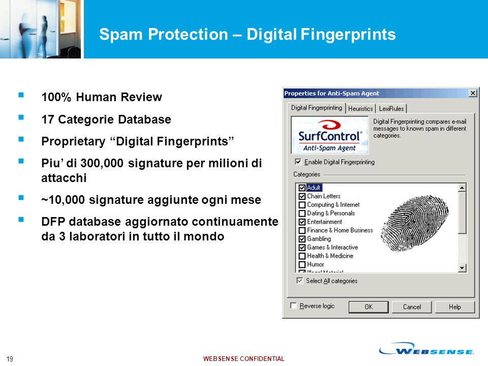 "WEBSENSE CONFIDENTIAL 19 Spam Protection – Digital Fingerprints  100% Human Review  17 Categorie Database  Proprietary ""Digital Fingerprints""  Piu"