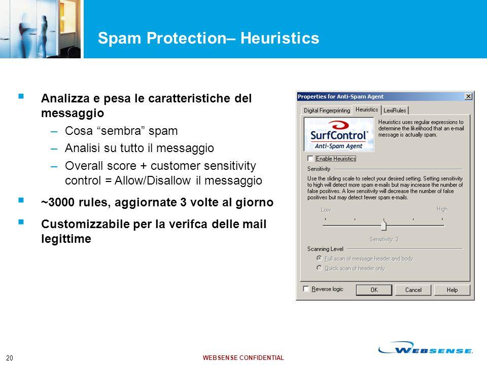 """WEBSENSE CONFIDENTIAL 20 Spam Protection– Heuristics  Analizza e pesa le caratteristiche del messaggio –Cosa """"sembra"""" spam –Analisi su tutto il messa"""
