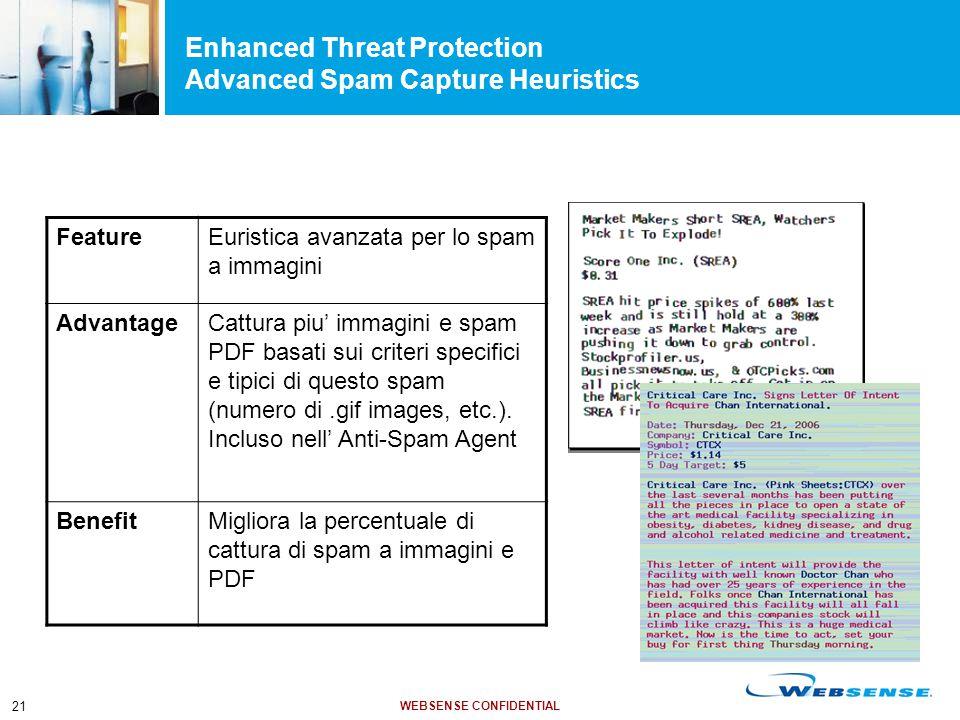 WEBSENSE CONFIDENTIAL 21 FeatureEuristica avanzata per lo spam a immagini AdvantageCattura piu' immagini e spam PDF basati sui criteri specifici e tipici di questo spam (numero di.gif images, etc.).