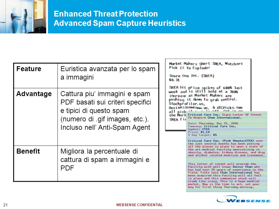 WEBSENSE CONFIDENTIAL 21 FeatureEuristica avanzata per lo spam a immagini AdvantageCattura piu' immagini e spam PDF basati sui criteri specifici e tip