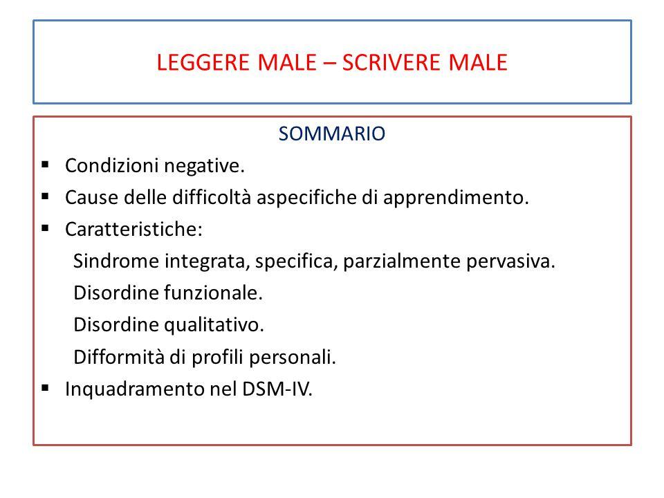 LEGGERE MALE – SCRIVERE MALE SOMMARIO  Condizioni negative.
