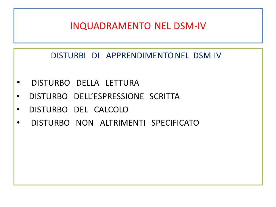 INQUADRAMENTO NEL DSM-IV DISTURBI DI APPRENDIMENTO NEL DSM-IV DISTURBO DELLA LETTURA DISTURBO DELL'ESPRESSIONE SCRITTA DISTURBO DEL CALCOLO DISTURBO NON ALTRIMENTI SPECIFICATO