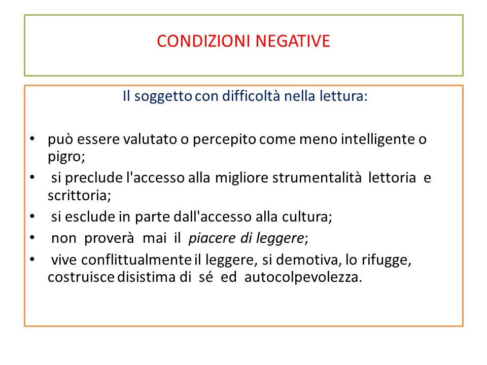 CONDIZIONI NEGATIVE E' importante: Distinguere tra dislessia/disgrafia vera da errori di lettura/scrittura per cattivo apprendimento scolastico.