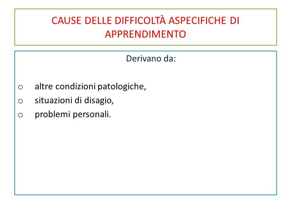 CAUSE DELLE DIFFICOLTÀ ASPECIFICHE DI APPRENDIMENTO Derivano da: o altre condizioni patologiche, o situazioni di disagio, o problemi personali.
