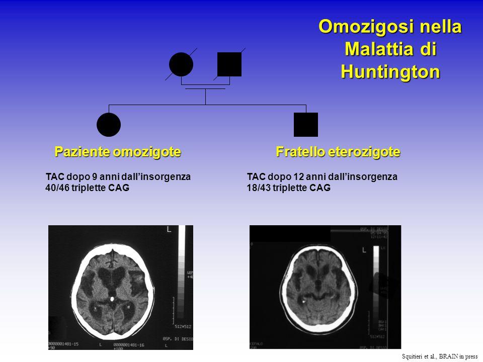 Omozigote 1 2 anni dopo l'insorgenza della malattia 1 anno dopo l'insorgenza della malattia Omozigote 3 Squitieri et al., BRAIN in press