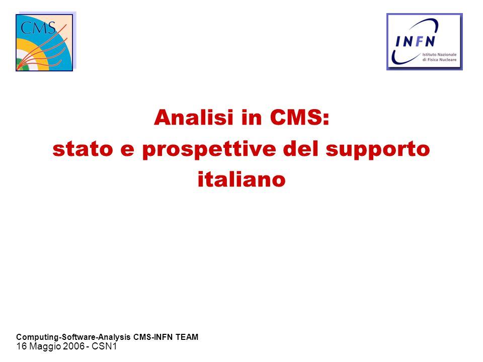 16 Maggio 2006 - CSN1 Computing-Software-Analysis CMS-INFN TEAM Analisi in CMS: stato e prospettive del supporto italiano