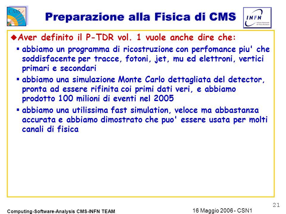 21 Computing-Software-Analysis CMS-INFN TEAM 16 Maggio 2006 - CSN1 Preparazione alla Fisica di CMS u Aver definito il P-TDR vol.