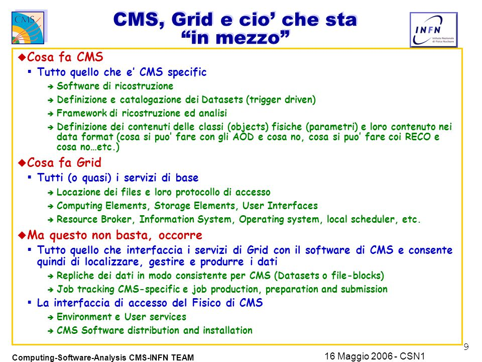 9 Computing-Software-Analysis CMS-INFN TEAM 16 Maggio 2006 - CSN1 CMS, Grid e cio' che sta in mezzo u Cosa fa CMS  Tutto quello che e' CMS specific è Software di ricostruzione è Definizione e catalogazione dei Datasets (trigger driven) è Framework di ricostruzione ed analisi è Definizione dei contenuti delle classi (objects) fisiche (parametri) e loro contenuto nei data format (cosa si puo' fare con gli AOD e cosa no, cosa si puo' fare coi RECO e cosa no…etc.) u Cosa fa Grid  Tutti (o quasi) i servizi di base è Locazione dei files e loro protocollo di accesso è Computing Elements, Storage Elements, User Interfaces è Resource Broker, Information System, Operating system, local scheduler, etc.