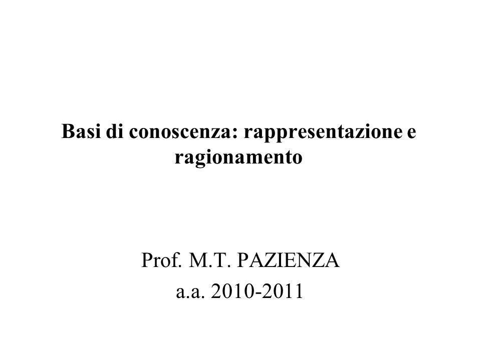 Basi di conoscenza: rappresentazione e ragionamento Prof. M.T. PAZIENZA a.a. 2010-2011