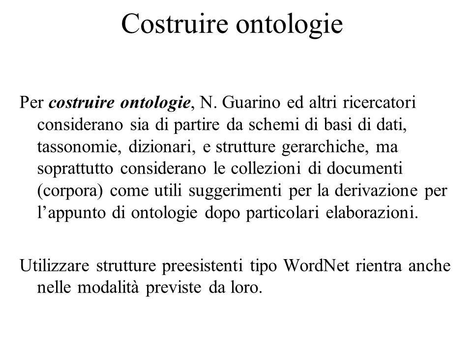 Costruire ontologie Per costruire ontologie, N.
