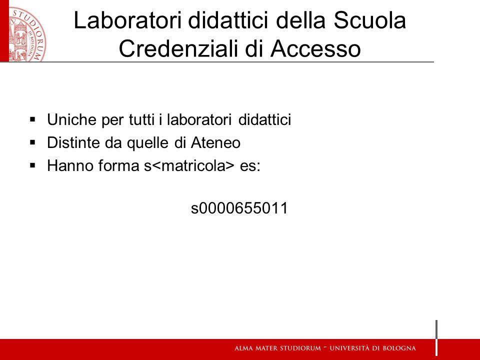 Laboratori didattici della Scuola Credenziali di Accesso  Uniche per tutti i laboratori didattici  Distinte da quelle di Ateneo  Hanno forma s es: s0000655011