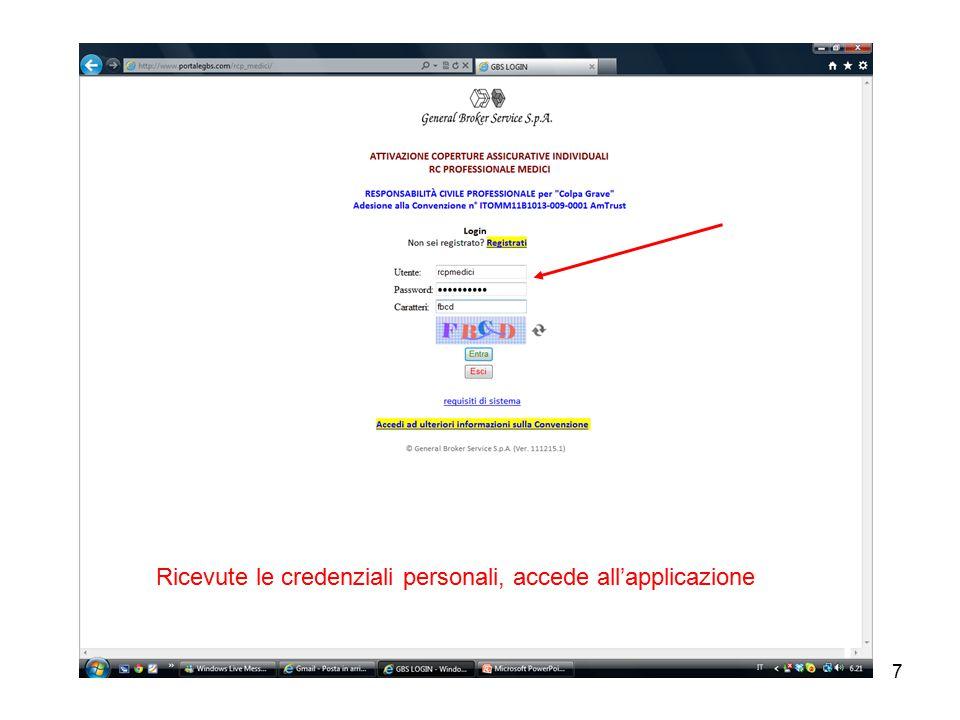 7 Ricevute le credenziali personali, accede all'applicazione