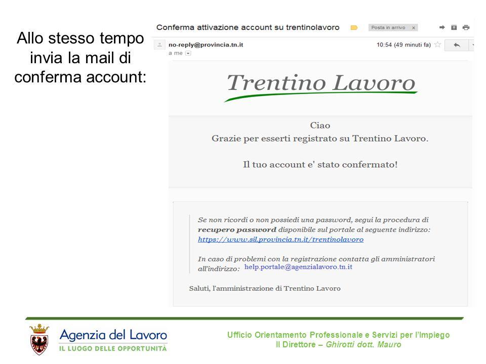 Ufficio Orientamento Professionale e Servizi per l'Impiego Il Direttore – Ghirotti dott. Mauro Allo stesso tempo invia la mail di conferma account: