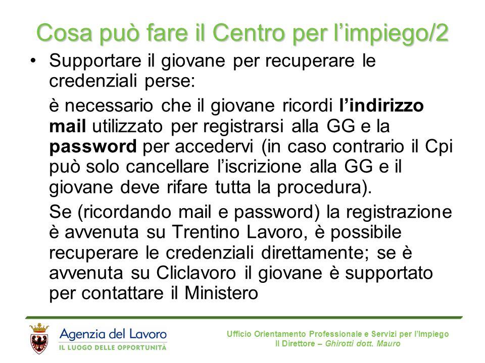 Ufficio Orientamento Professionale e Servizi per l'Impiego Il Direttore – Ghirotti dott. Mauro Cosa può fare il Centro per l'impiego/2 Supportare il g
