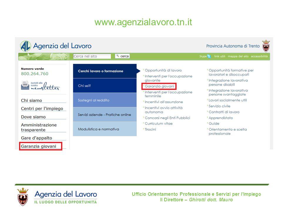 Ufficio Orientamento Professionale e Servizi per l'Impiego Il Direttore – Ghirotti dott. Mauro www.agenzialavoro.tn.it