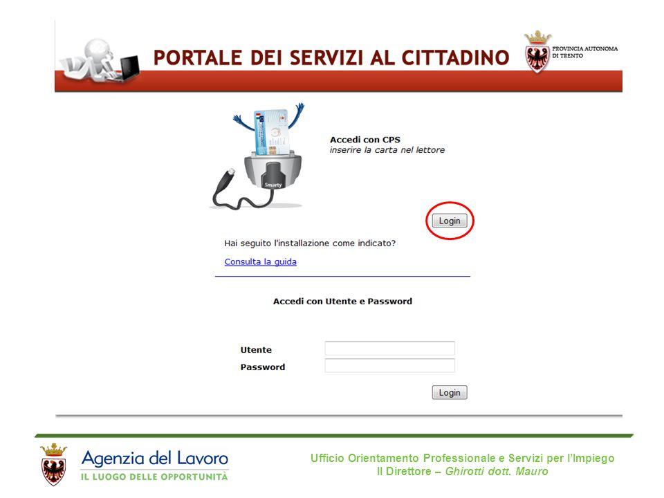 Ufficio Orientamento Professionale e Servizi per l'Impiego Il Direttore – Ghirotti dott.