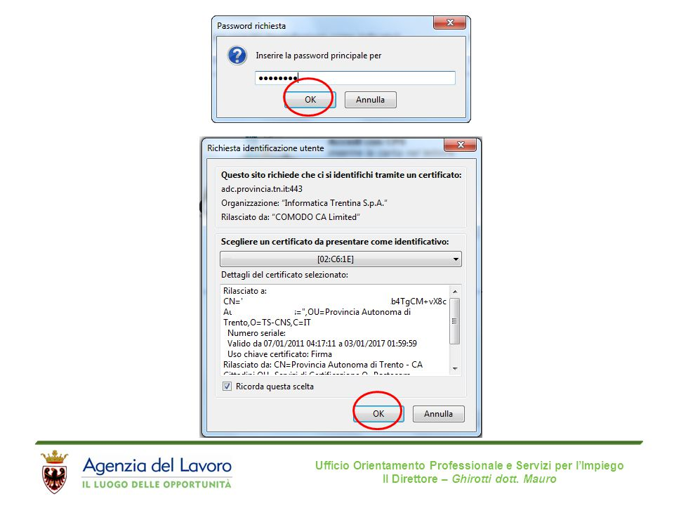 Ufficio Orientamento Professionale e Servizi per l'Impiego Il Direttore – Ghirotti dott. Mauro