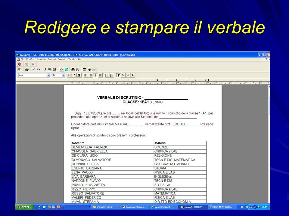 Redigere e stampare il verbale