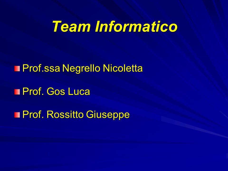 Team Informatico Prof.ssa Negrello Nicoletta Prof. Gos Luca Prof. Rossitto Giuseppe