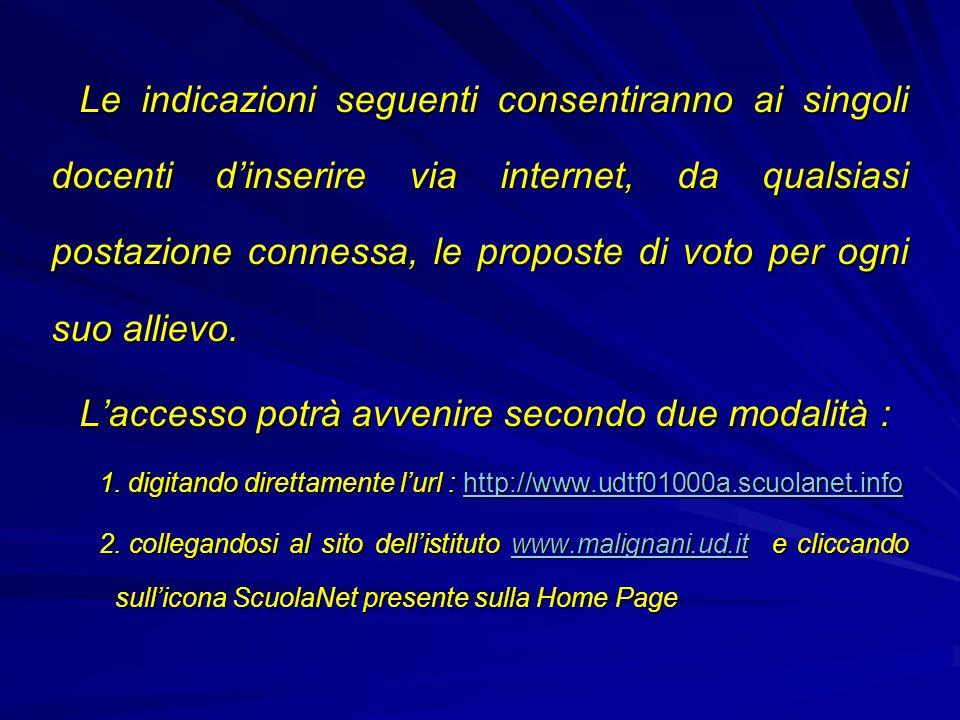 Le indicazioni seguenti consentiranno ai singoli docenti d'inserire via internet, da qualsiasi postazione connessa, le proposte di voto per ogni suo a