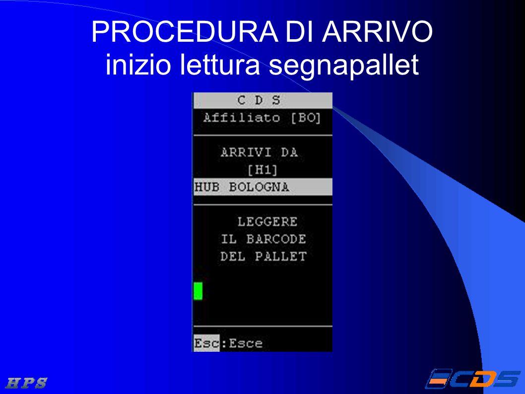 PROCEDURA DI ARRIVO inizio lettura segnapallet