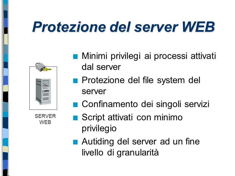 SERVER WEB Protezione del server WEB n Minimi privilegi ai processi attivati dal server n Protezione del file system del server n Confinamento dei sin