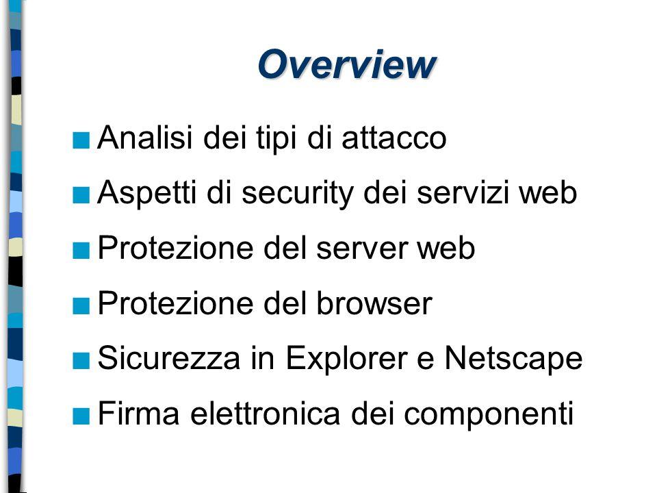 Overview n Analisi dei tipi di attacco n Aspetti di security dei servizi web n Protezione del server web n Protezione del browser n Sicurezza in Explo