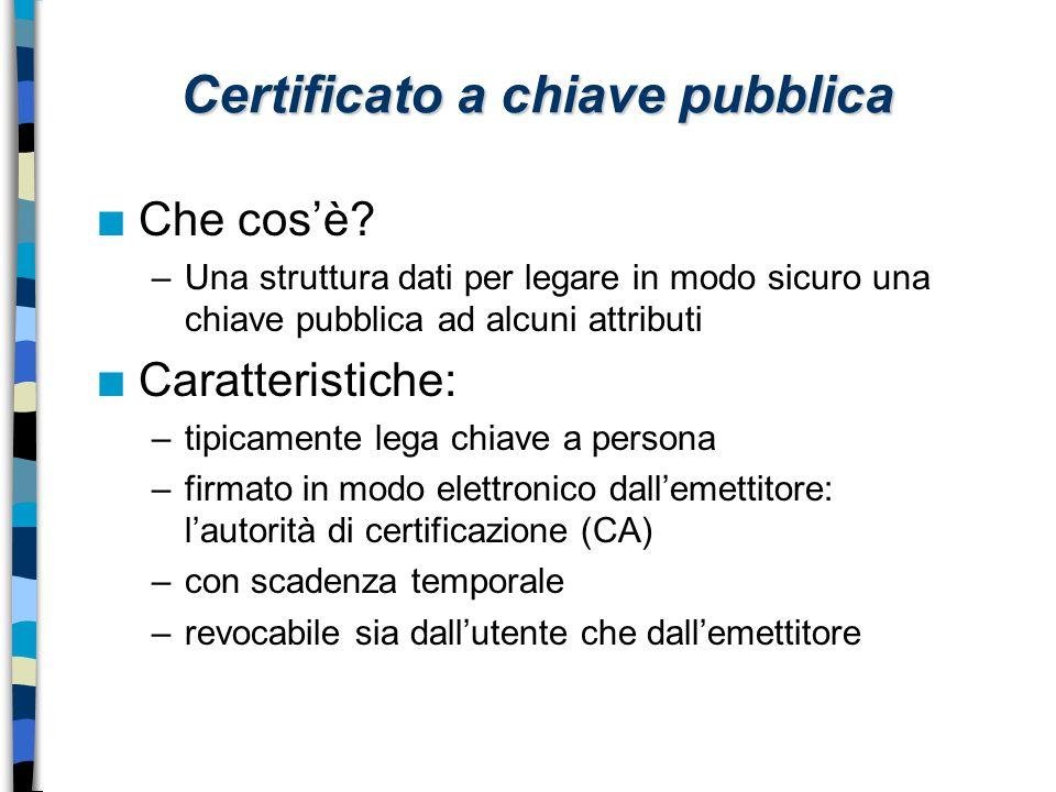 Certificato a chiave pubblica n Che cos'è? –Una struttura dati per legare in modo sicuro una chiave pubblica ad alcuni attributi n Caratteristiche: –t