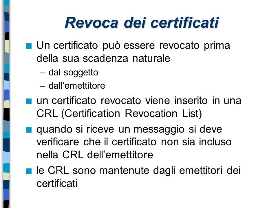 Revoca dei certificati n Un certificato può essere revocato prima della sua scadenza naturale –dal soggetto –dall'emettitore n un certificato revocato